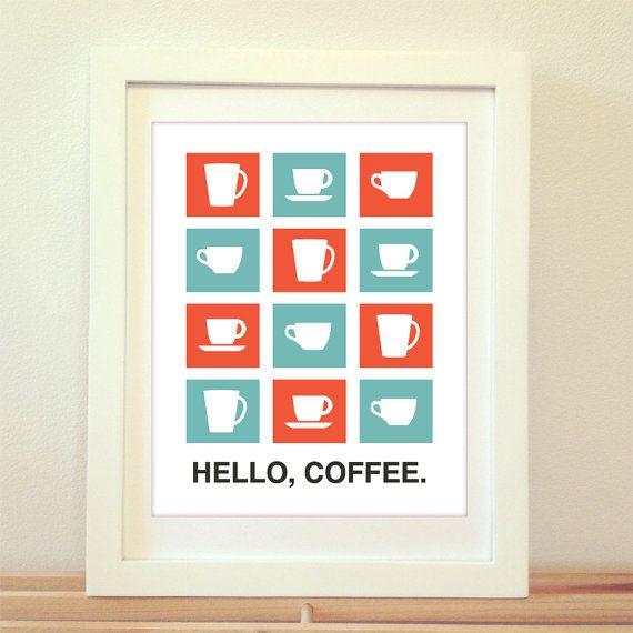 Hello coffee coffee print coffee art coffee sign kitchen sign