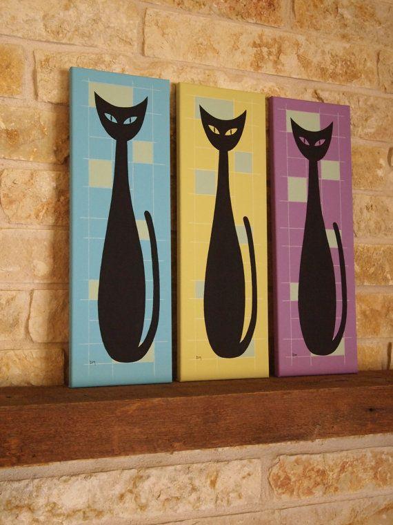 Mid-Century Modern wall art retro cats