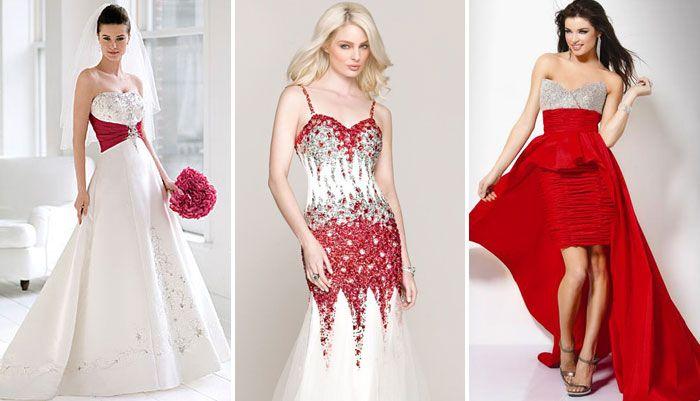 Элегантные бело-красные платья невесты – декор стразами, вышивкой