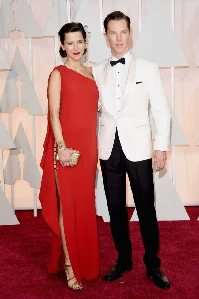 87th Academy Awards: Oscars 2015 red carpet : Sophie Hunter in Lanvin and Benedict Cumberbatch