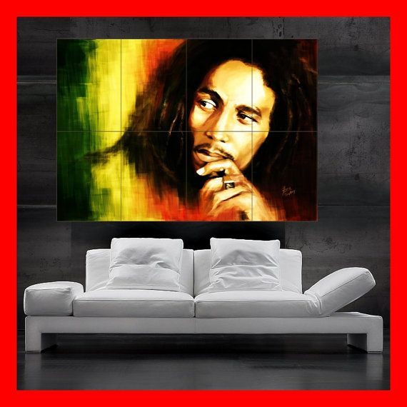 bob marley reggae colorful portrait poster print art huge big picture