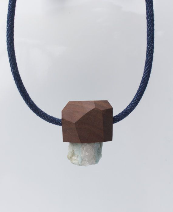 Beryl & Walnut facet pendant on dark denim by VanDerZeeJewelry