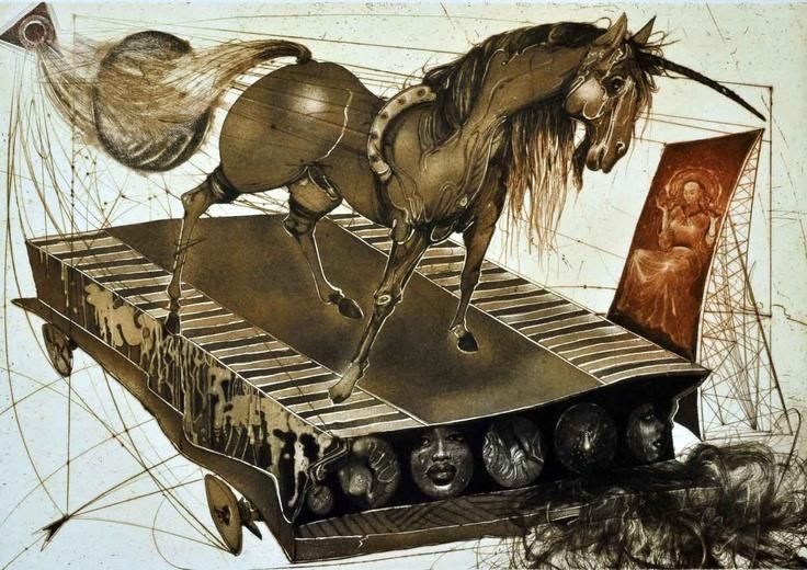 "Karel Demel, ""Unicorn"", etching and aquatint"