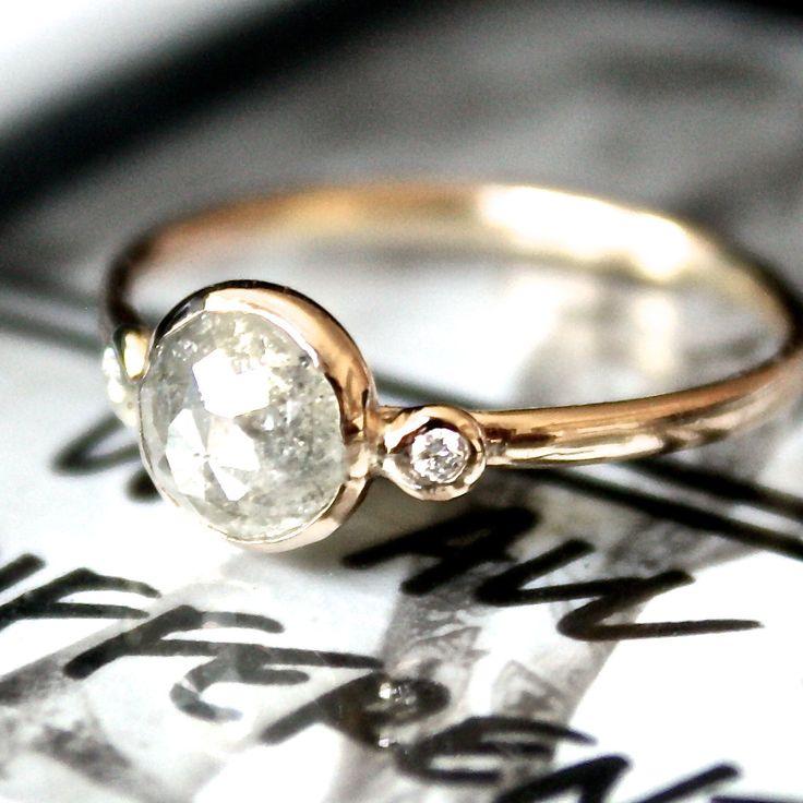 Diamond Ring Rose Cut Diamond Slice in 14K by SamanthaMcIntosh, $1,890.00