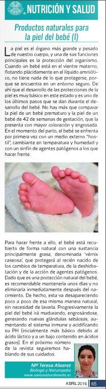 Columna sobre la piel del bebé y la idoneidad de emplear productos naturales para su cuidado en la revista La Publi de la Axarquía - primera parte