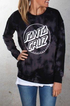 Santa Cruz - Keyline Girls Crew Black Tie Dye $79.95 Shop Via ll http://www.jeanjail.com.au/ladies/santa-cruz-keyline-girls-crew-black-tie-dye.html
