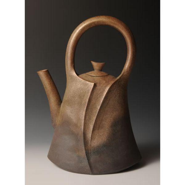 YAKISHIMEDOBINGATA KAKI (Unglazed high-fired Flower Vessel with the Teapot design A)