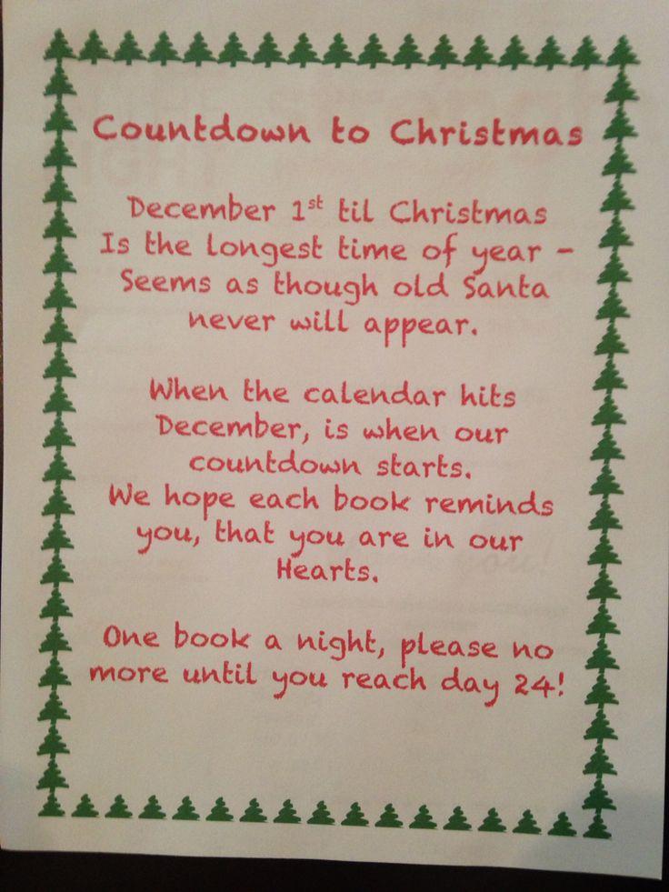 Countdown to Christmas, book advent calendar poem