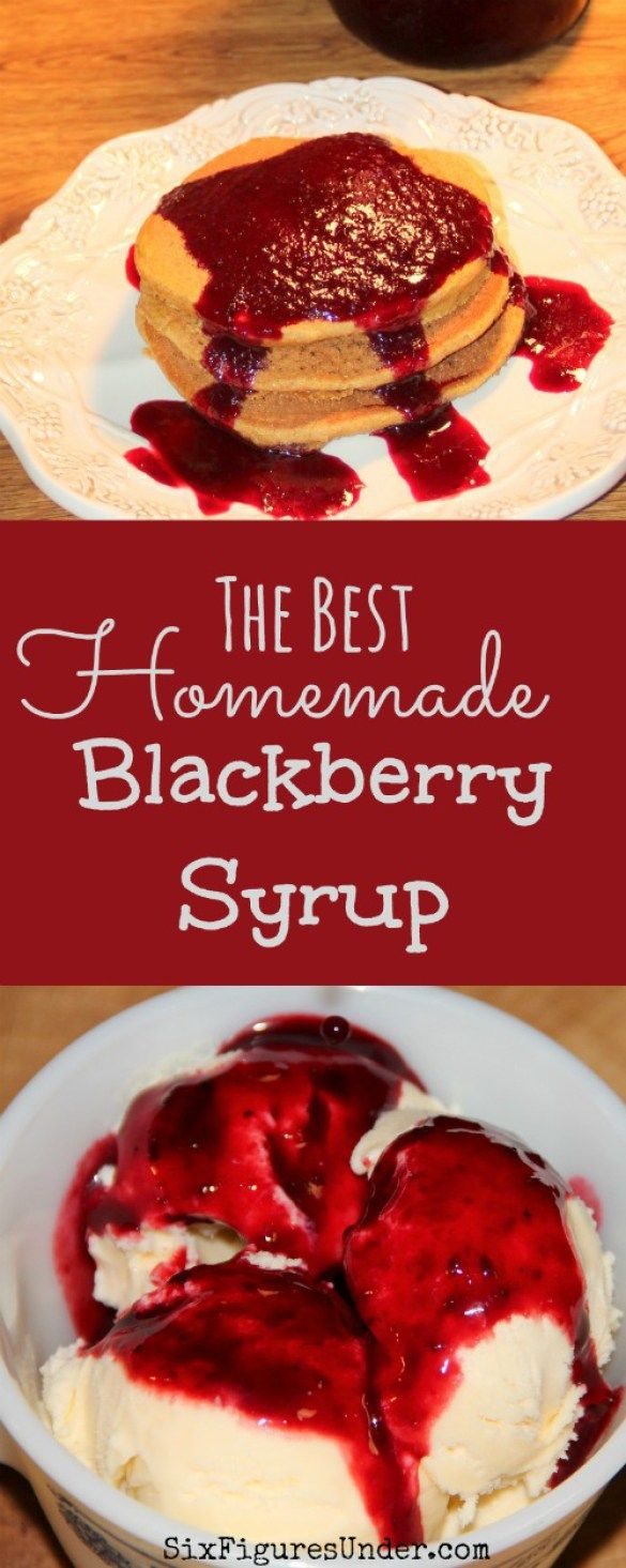Homemade Blackberry Syrup makes a perfect topping for ice cream, pancakes, waffles-- you name it! You can't go wrong with it! Get the recipe, complete with canning tutorial!
