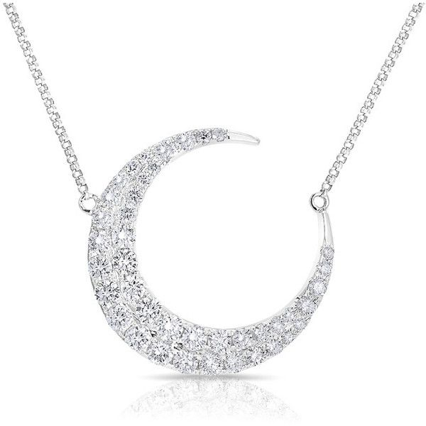 Anne Sisteron 14KT White Gold Diamond Moon With Diamond Chain... ($4,175) ❤ liked on Polyvore featuring jewelry, necklaces, jewelry/ piercings, white, white necklaces, chains jewelry, chain necklace, white gold diamond necklace and white diamond jewelry