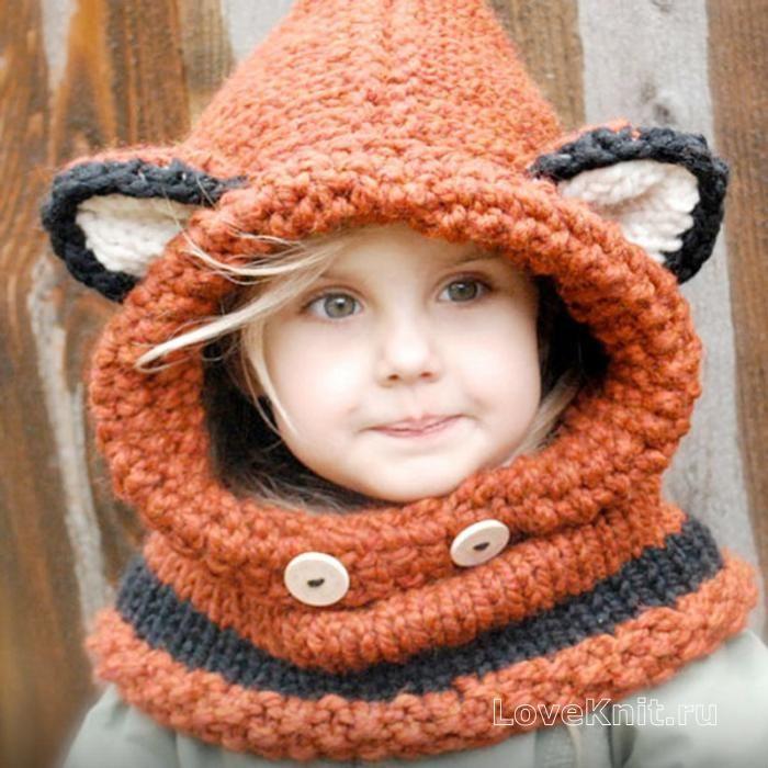 детский капор с ушками в виде лисички  фото к описанию