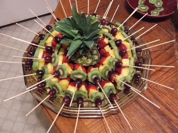 Fruit kabob display so cool need to try it