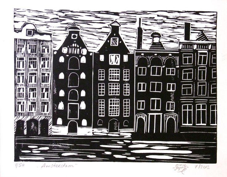Hand Printed Lino Cut Print - Amsterdam - Limited Edition. $20,00, via Etsy.