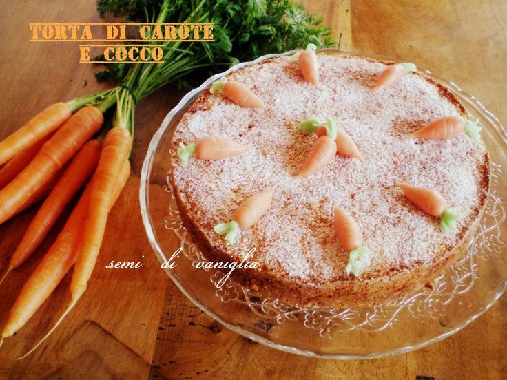 semi di vaniglia: Torta di carote e cocco con carotine di marzapane (gluten free)