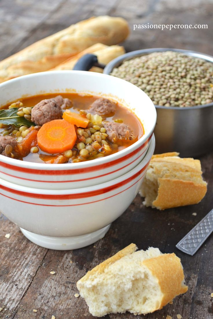 Zuppa di lenticchie verdi e polpettine