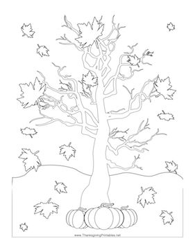 This Thanksgiving coloring page features an autumn tree with leaves falling around it. Free to download and print