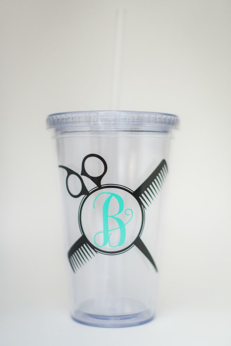 Hairdresser / Stylist vinyl tumbler cup with monogram by Ellancompany on Etsy https://www.etsy.com/listing/285696571/hairdresser-stylist-vinyl-tumbler-cup
