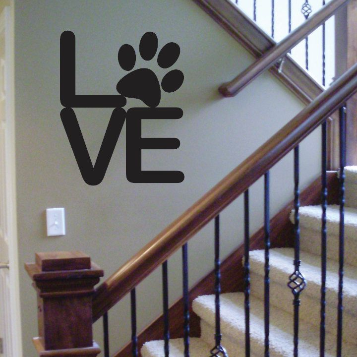 Love this!!  Paw Love - Rounded Type - Removable Vinyl Wall Decal. $15.99, via Etsy.
