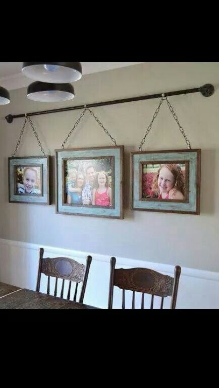 Captivating Iron Pipe Family Photo Display, Dining Room Ideas, Home Decor, Repurposing  Upcycling, Wall Decor. Love The Idea Of Having The Pipe As A Curtain Rod