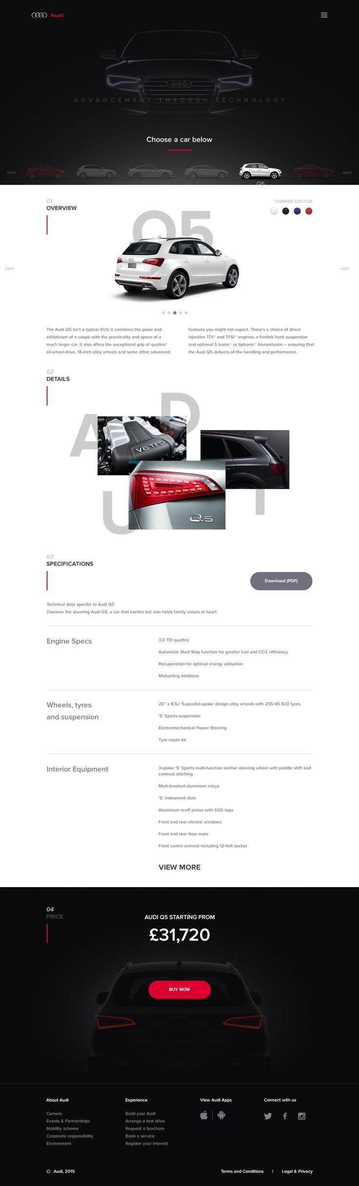 Layout photoshop web design website template tutorials tutorial 022 - Audi A New Experience This Is A Design Exercise That I Created For Myself I Wanted To Reimagine Part Of The Selecting A Car Phase Of The Audi Website