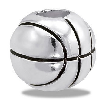 DaVinci Sporty Basketball European/Memory Charm Double Sterling Layered Bead - Fits Pandora Bracelets http://shorl.com/mystadrebolave