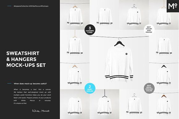 Sweatshirt & Hangers Mock-ups Set by Mocca2Go/mesmeriseme on @creativemarket