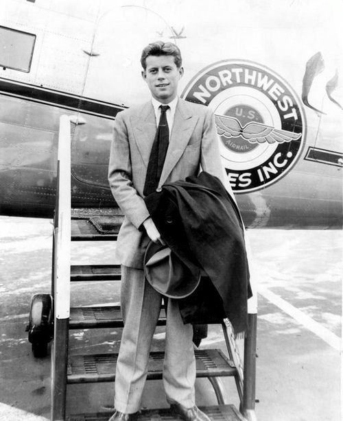 A 23 year old JFK arriving at Midway Airport, 1940, Chicago.
