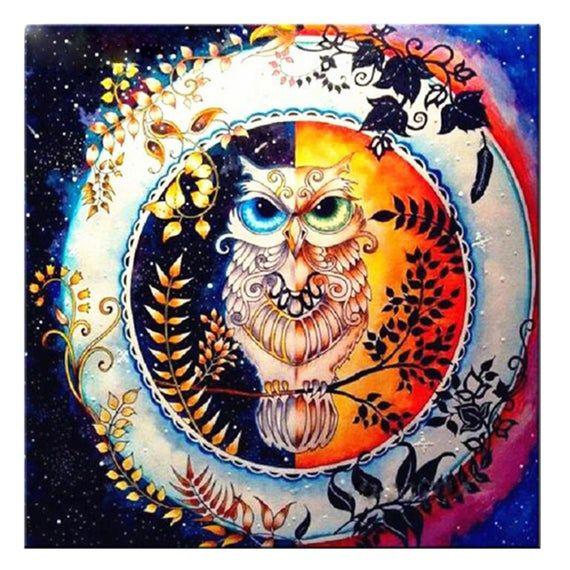 5d Diy Diamond Painting Owl Resin Square Round Rill Diamond Mosaic Needlework Emb Enchanted Forest Coloring Book Enchanted Forest Coloring Forest Coloring Book