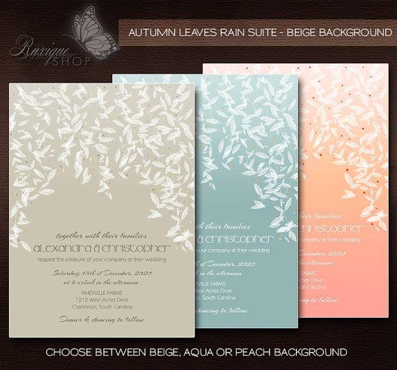 White #Leaves #Modern #Elegant #Wedding Suite PRINTABLE DIY Wedding #Invitation, #RSVP, Thank You Card - Beige, Aqua, Peach by Ruxique