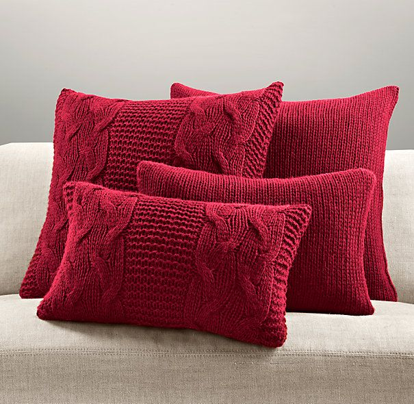 Italian Wool & Alpaca Knit Pillow Cover Collection - Garnet | Pillows | Restoration Hardware