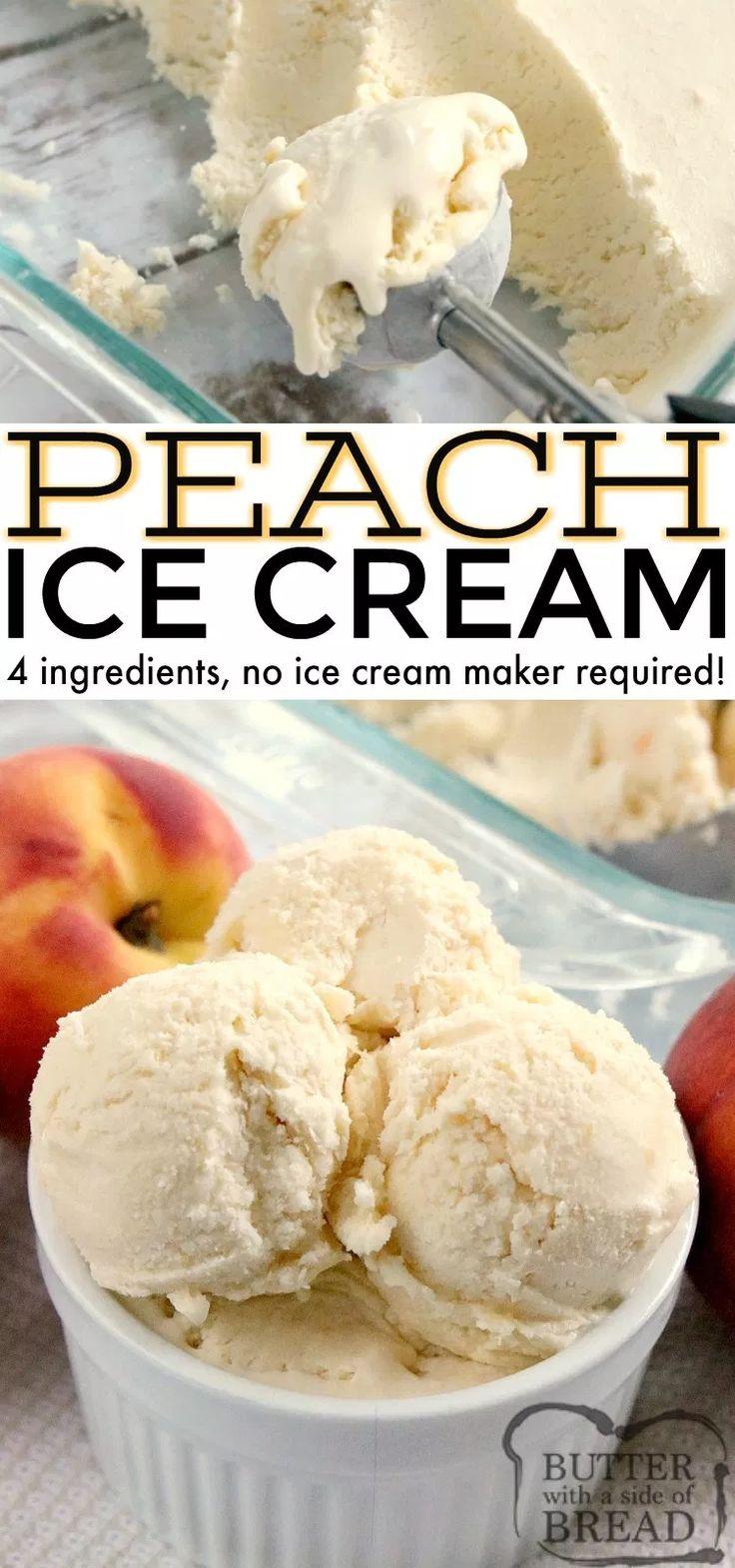 El helado de durazno está hecho con duraznos frescos y crema batida real, sin helado …   – Eis