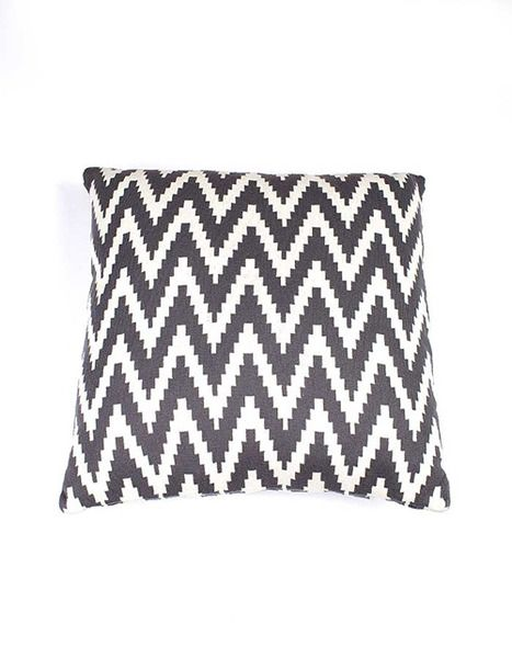 Indus Design Ikat Cushion-Charcoal/Natural |Krinkle