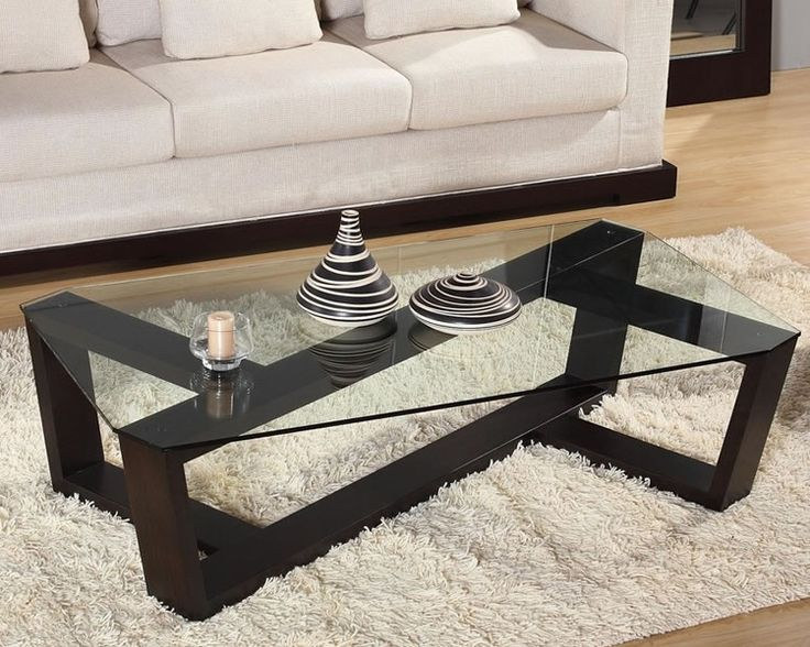 Zig Coffee Table By Beverly Hills In Wenge W Glass Top