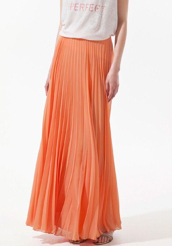 orange plain pleated ankle polyester flowy maxi