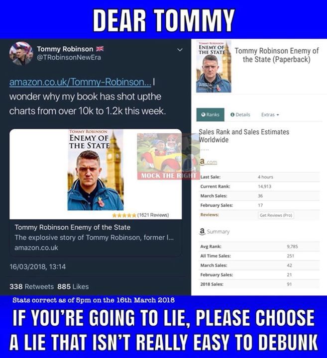 Oh dear. Tommy Robinson lies yet again. #MockTheRight #ResistingHate Facebook - https://goo.gl/tYgshr -- March 16 2018 at 05:30PM
