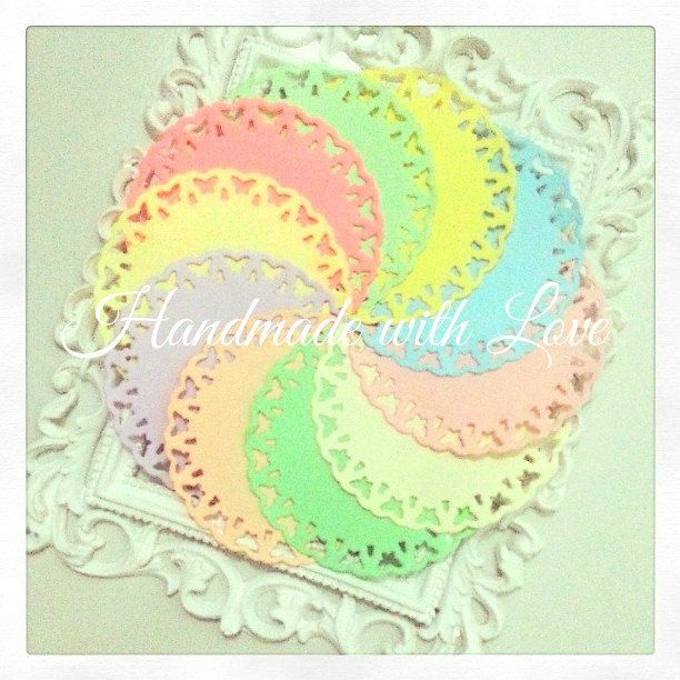 """4"""" Pastel Butterfly Paper Doilies. 1 pack of 10pcs. Perfect for your card making, scrapbooking. and many other projects. by PaperCraftwithLove on Etsy"""