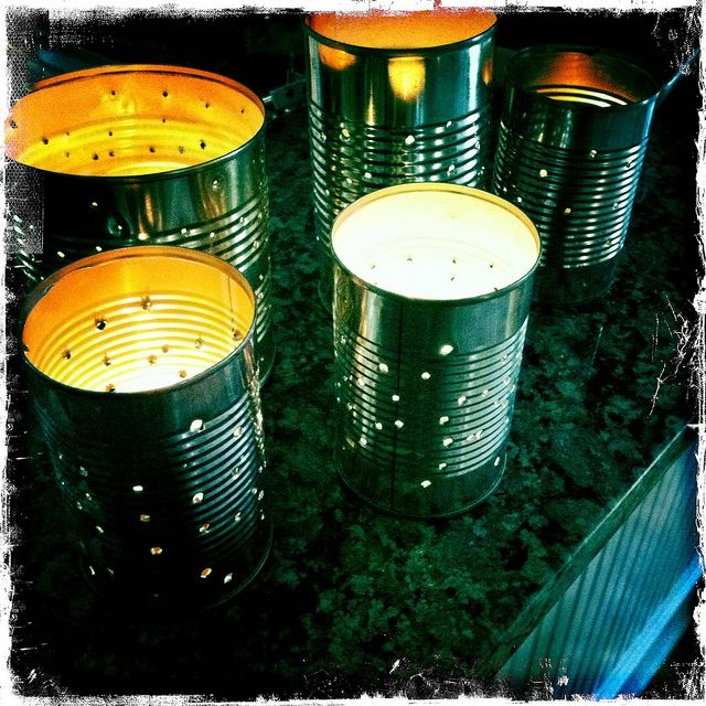 Tin Can Lanterns ~ We made these for our Winter Solstice celebration!  They turned out perfectly!