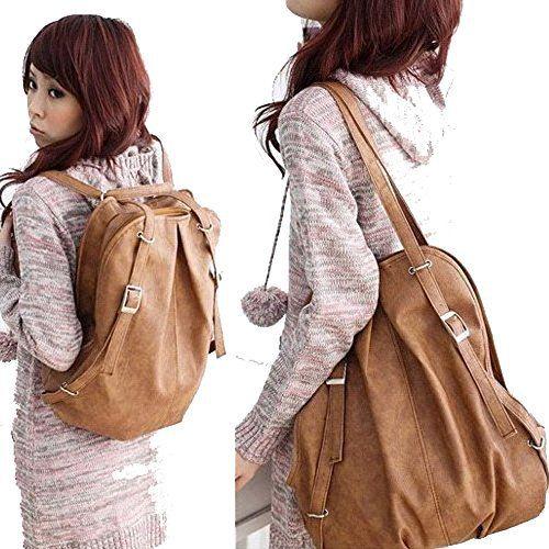 C&L Fashion Korean Style Girl's PU Leather Backpack Handbag Shoulders Bag (Light Brown) - http://leather-handbags-shop.com/cl-fashion-korean-style-girls-pu-leather-backpack-handbag-shoulders-bag-light-brown/
