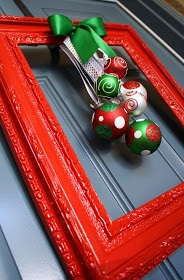 Front door Christmas Frame with ornaments instead of wreath.  Can do this for any holiday.
