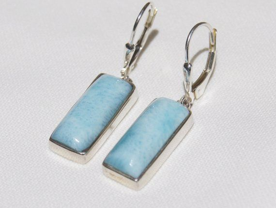 925 Sterling Silver Earring with Genuine Larimar AA Stone
