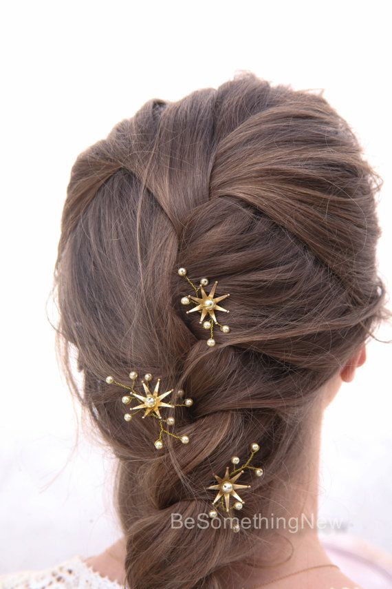 Wedding Hair Pins Star Flower and Champagne by BeSomethingNew