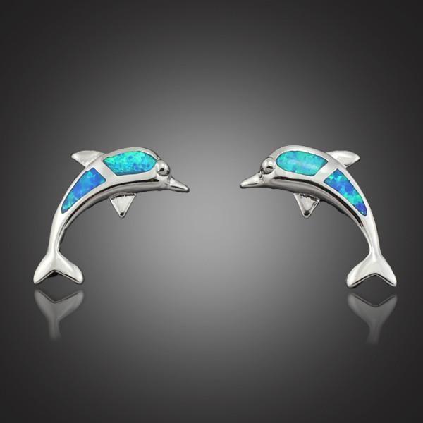 Elegant Blue Fire Opal Stone Dolphin Earrings