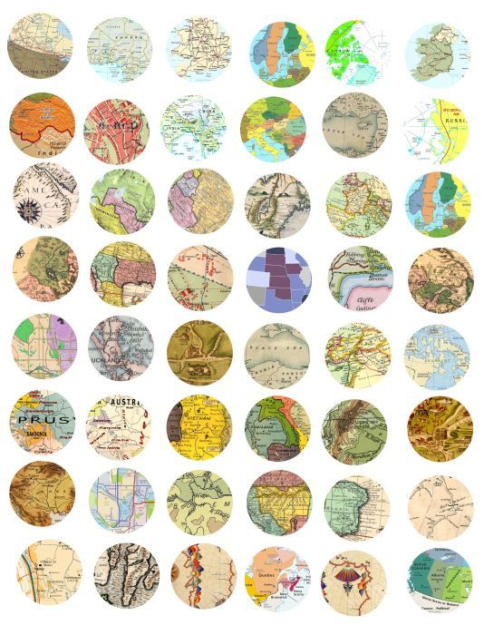 vintage maps from around the world clip art collage sheet 1 INCH circles