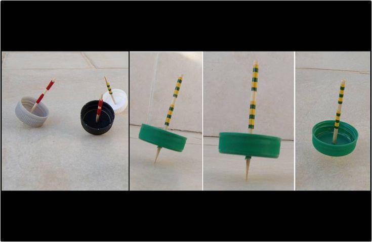 Fabrícate unas divertidas peonzas reutilizando tapones de plástico