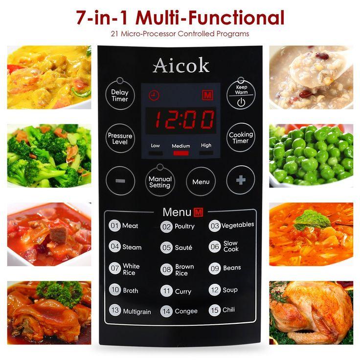 Aicok 7-in-1 Programmierbarer Elektrische Schnellkochtopf, Multikocher Reiskocher / Dampfgarer Kochtopf, 6L / 1000W: Amazon.de: Garten