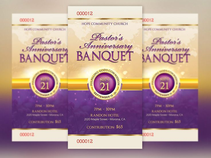 Clergy Anniversary Banquet Ticket by Godserv Designs on @creativemarket