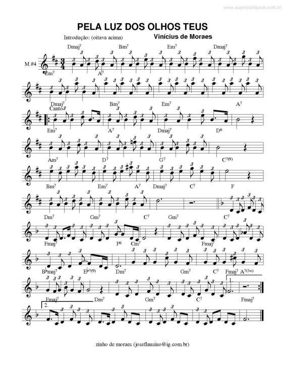 Página que contém a partitura da música Pela Luz dos olhos Teus v.3 (Vinícius De Moraes).