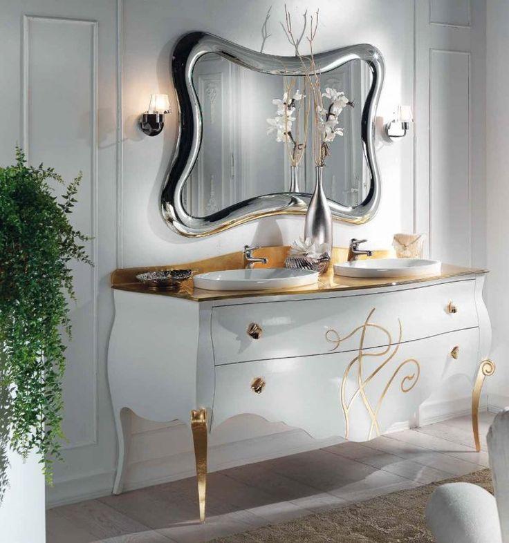 mobile bagno shabby chic laccato bianco con finiture foglia oro mod botticelli