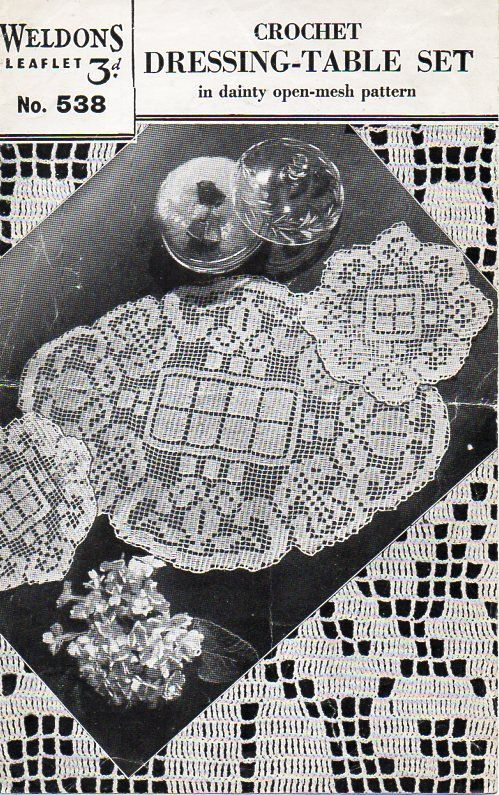 Vintage Crochet Pattern Pdf Crochet Dressing Table Set Filet Thread
