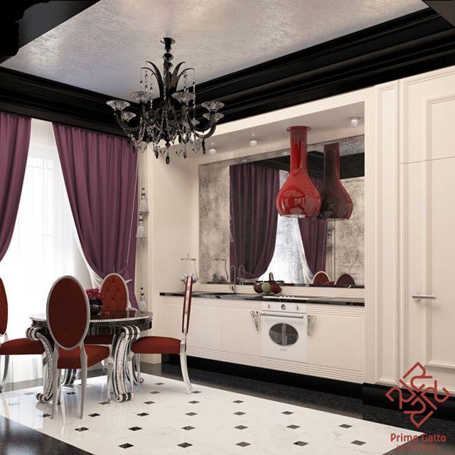 #Primogatto_interior_project #дизайн #дизайнинтерьеров #дизайндома #дизайнквартиры #красивыеинтерьеры #декор #кухня #interiors #interiordesign #homedesign #decor #kitchen #artdecointerior #artdeco Наш проект кухни в доме 15 века.  Стиль #ардеко в интерьерах отличается роскошными, яркими и контрастными решениями с использованием дорогих материалов. В нашей кухне мы использовали черный и белый мрамор, мраморную мозаику, панели из массива дерева, состаренные зеркала и серебряную поталь.